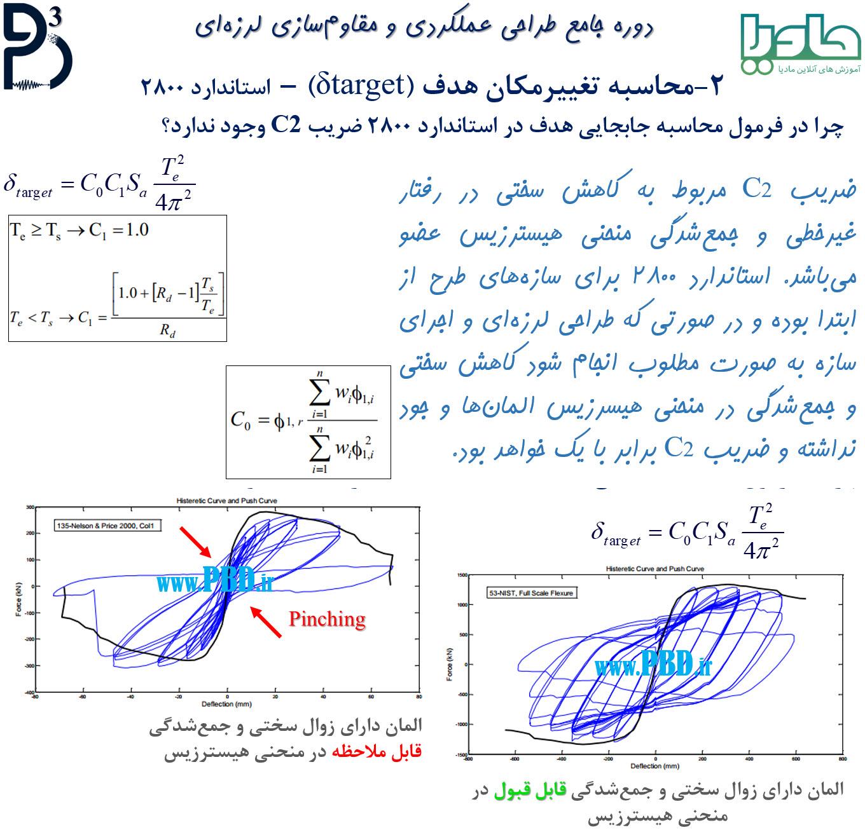 چرا در فرمول تغییرمکان هدف در استاندارد 2800 ضریب C2 وجود ندارد؟ (ضریب زوال سختی وجود ندارد)